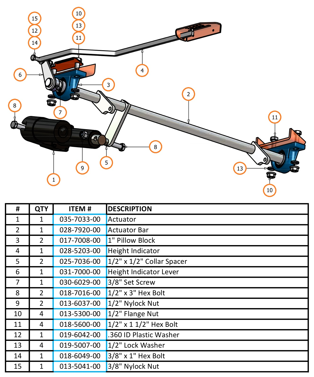 2007 Aos Actuator Bar Parts And Schematics