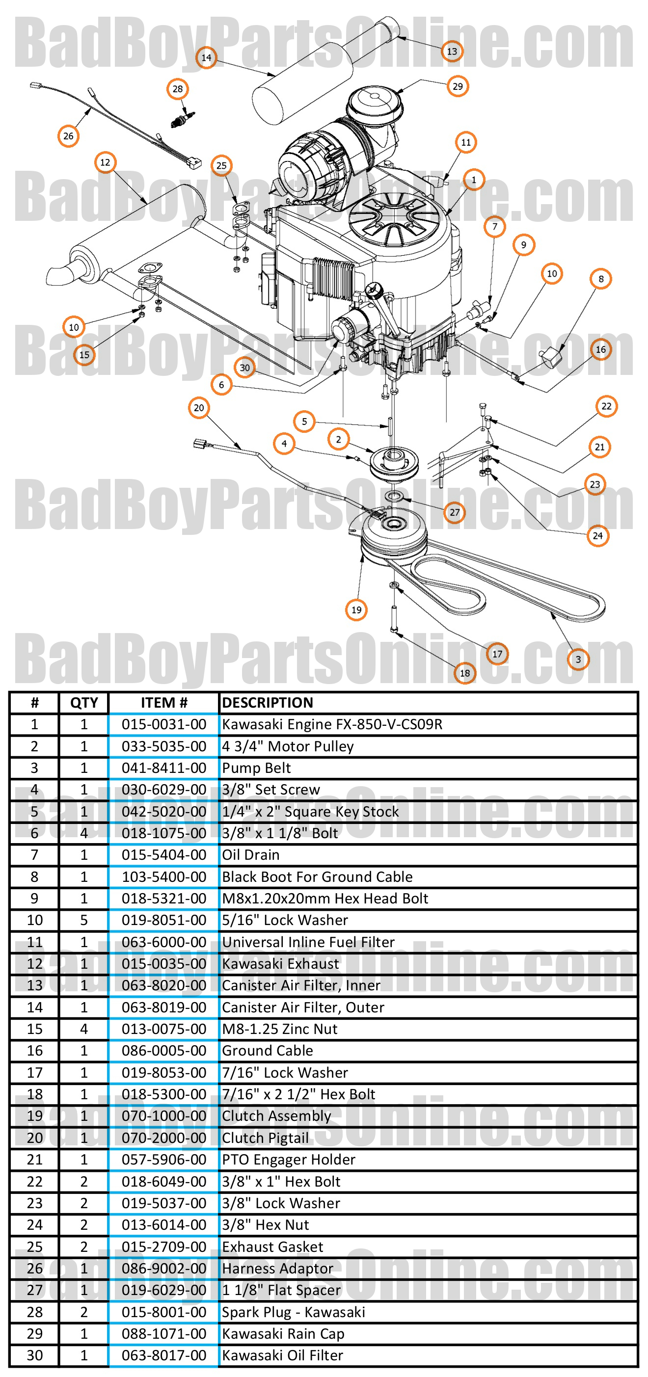2017 outlaw xp engine - kawasaki fx850v parts and schematic  bad boy parts online